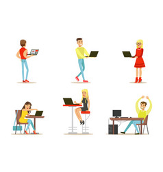 flat set of young people with computers vector image
