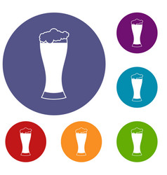 glass of beer icons set vector image