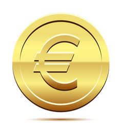 Golden icon of coin euro on white background vector