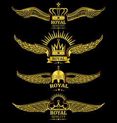 Golden wing crown royal logo vector