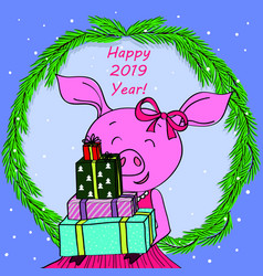 Happy new year card cartoon pig in spruce vector