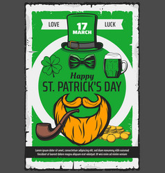 happy st patrick day irish holiday leprechaun hat vector image