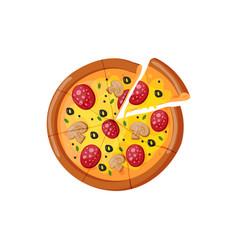 hot fresh pizza slice icon vector image