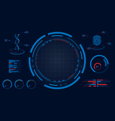 hud screen display dna and fingerprint data vector image