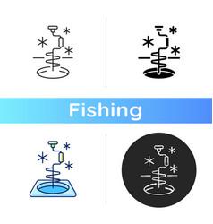 Ice fishing icon vector