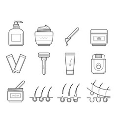 icons tools for hair removal vector image