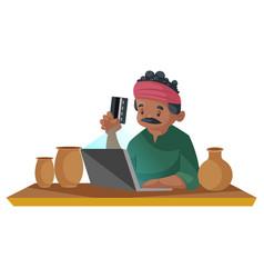 Indian potter cartoon vector