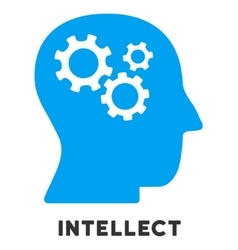 Intellect Flat Icon with Caption vector