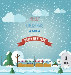 Inventation card Merry Christmas and happy on vector