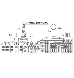 Japan sapporo architecture line skyline vector