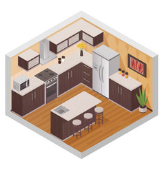 kitchen modern interior isometric composition vector image
