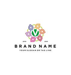 Letter v leaf colorful logo design and business vector