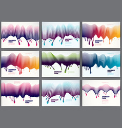 lined wave backgrounds fluid flow set 3d dynamic vector image