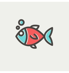 Little fish thin line icon vector image