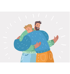 Male friendship two happy guys hug each other vector