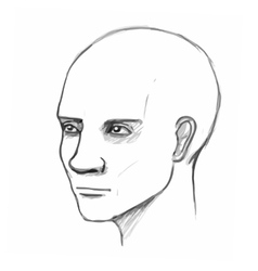 Male head Pencil sketch imitation in vector image