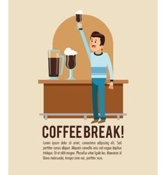 Man coffee break shop icon graphic vector