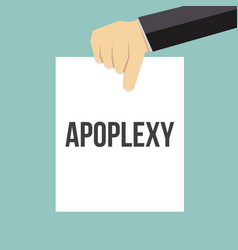 man showing paper apoplexy text vector image