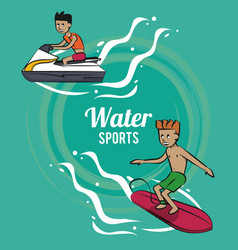 Man surfing on the sea vector