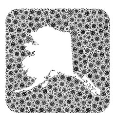 Map alaska state - covid-2019 virus mosaic with vector