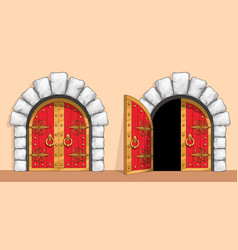 Medieval red wood gate decorated with wrought iron vector