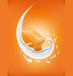Milk splash with caramel candy vector