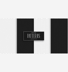 minimal black and white zigzag and wave pattern vector image