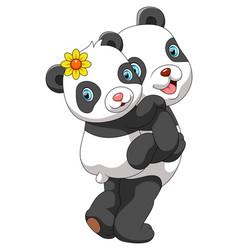 mother panda carrying cute baby panda vector image
