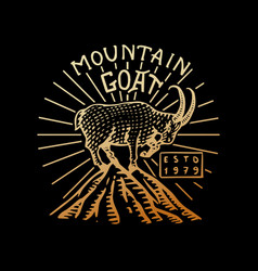 mountains goat logo camping label trip in the vector image