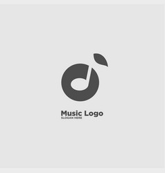 Music note and leaf logo design template vector
