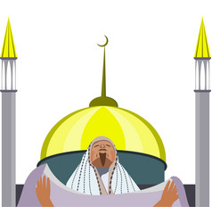 muslim praying against the background of a mosque vector image