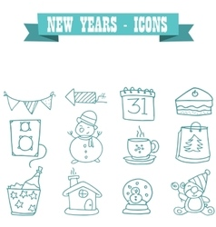 New Years element of icons vector image