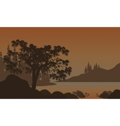 Night Landscape Mountains River and Trees vector