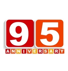 Ninety Five 95 Years Anniversary Label Sign for vector image