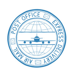postal stamp express delivery air mail round blue vector image