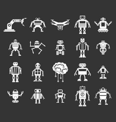 robot icon set grey vector image
