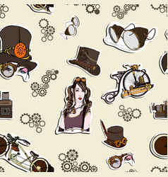 Seamless pattern steampunk with old bicycle vector