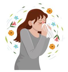 Seasonal allergy girl blows her nose vector