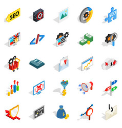 Seo development icons set isometric style vector