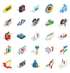 seo development icons set isometric style vector image