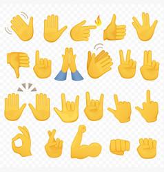 set hands icons and symbols emoji hand icons vector image