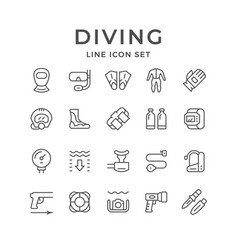Set line icons diving vector