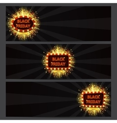 Set of horizontal banners with glowing lamps for vector image