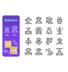 Set robotics simple lines icons different vector