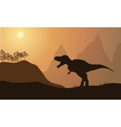 silhouette of tyrannosaurus in fields vector image