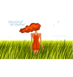 slim young girl from back stands in a grass field vector image