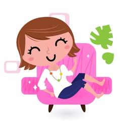 Sofa bed woman vector image