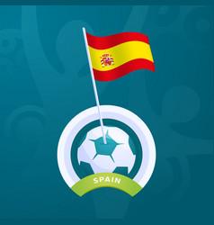 spain flag pinned to a soccer ball european vector image