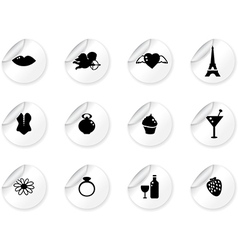 Stickers with romantic icons vector image