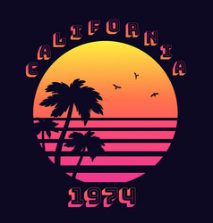 summer tropical text california 1974 with sunset vector image